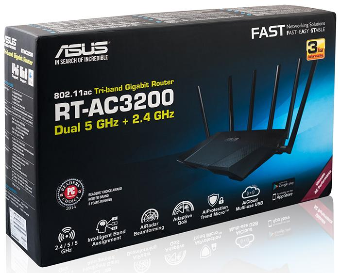 External design and hardware ASUS RT-AC3200 wireless router comes in a black plastic case with the following dimensions: 290х188х58 mm, not considering the antennae, and weight of a tad over one kilo.