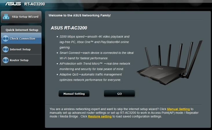 Setting-up and firmware update Upon first access to the web-interface of ASUS RT-AC3200 wireless router the primary setup