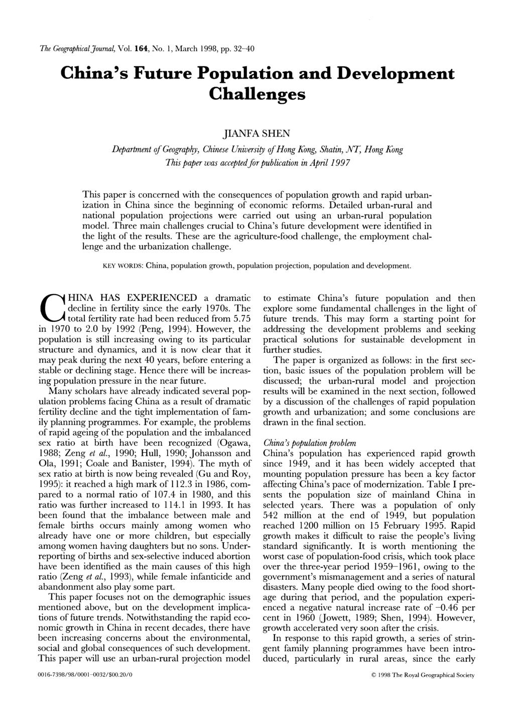 The GeographicalJournal, Vol. 164, No. 1, March 1998, pp.