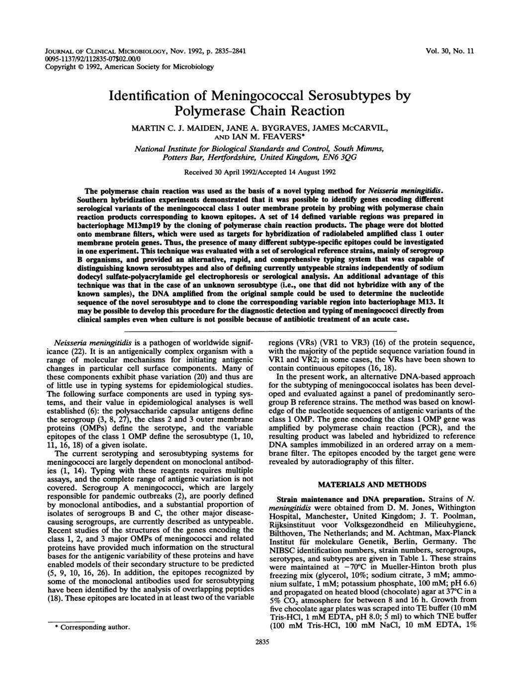 JOURNAL OF CLINICAL MICROBIOLOGY, Nov. 1992, p. 2835-2841 0095-1137/92/112835-07$02.00/0 Copyright X 1992, American Society for Microbiology Vol. 30, No.