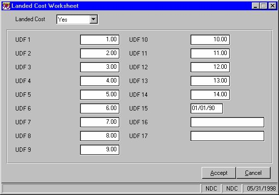 On the P/O Data Entry Total screen, a Landed Cost Total of all header and worksheet line costs