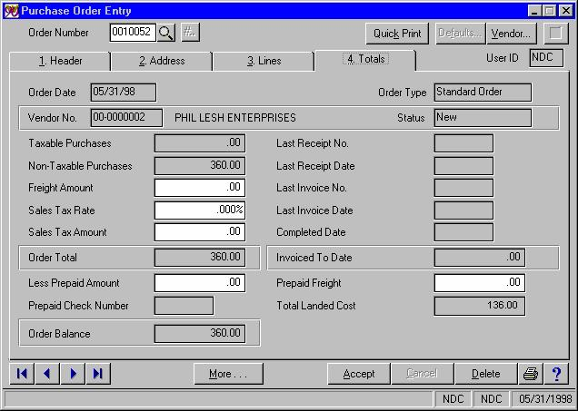 Figure 3a During P/O Receipt Entry, a warning message will appear if you are receiving a Purchase Order with a Yes in the Landed Cost field.