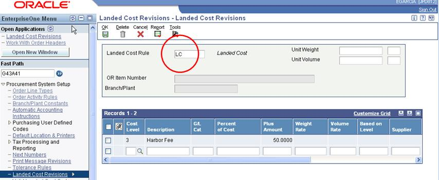Page 2 of 21 After creating a Cost Rule, it can be assigned to an inventory item (Item Branch/Plant Category Codes), a supplier (Supplier Master: Purchasing1 tab), purchase order header (Additional