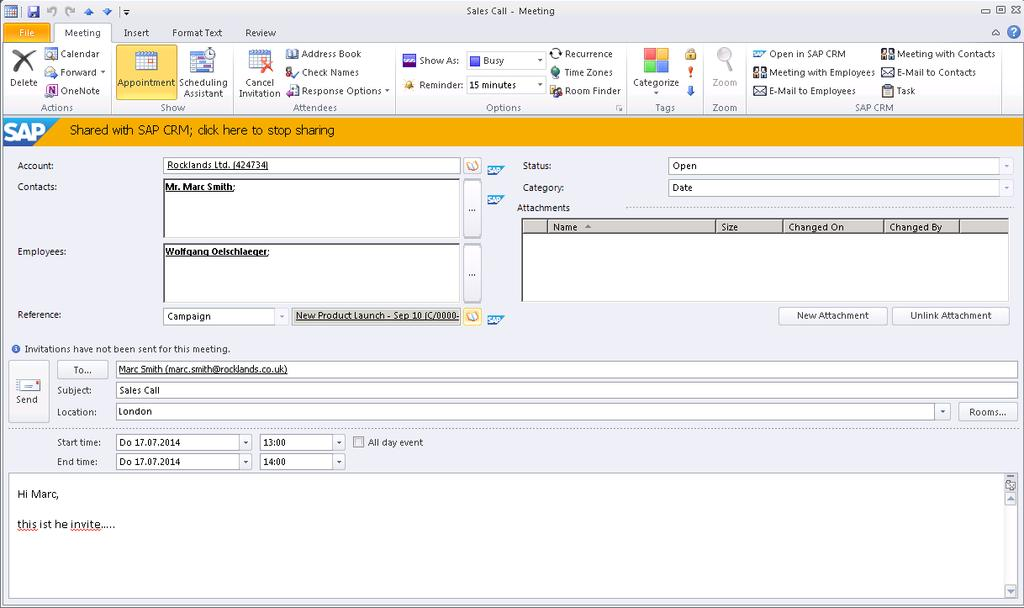 Appointments Inspector View xxxxxxxxxxx Context-specific productivity features Share button to synchronize appointment with CRM Partner gets displayed in CRM WebClient UI Main contact and employee