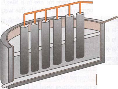 The cell can be drawn as follows: The cylinders in the middle of the cell are the anodes. The sides and base of the container are the cathodes.