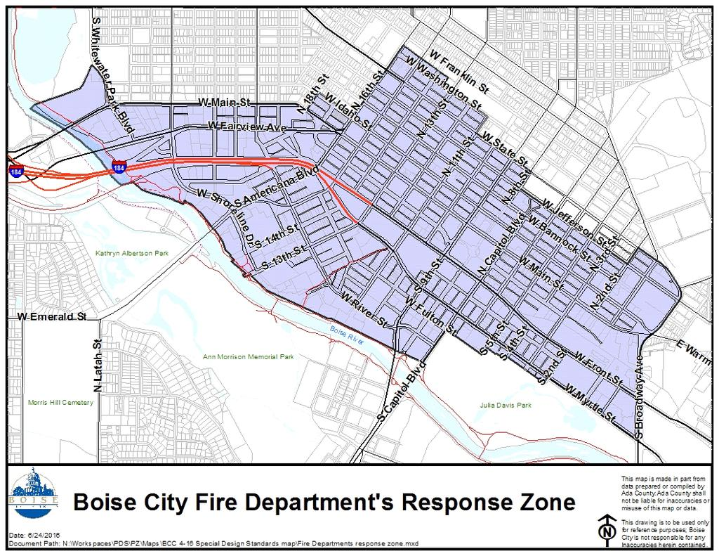 ATTACHMENT 4-A BOISE CITY FIRE DEPARTMENT S RESPONSE ZONE (Ord-26-15, Repealed and Replaced, 7/5/15; 6704, Amended, 02/17/2009; 6339, Added, 08/24/2004) Section 4-16-03 CONSTRUCTION AND OCCUPANCY A.