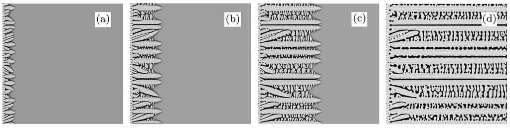 No. 9 Phase field simulation of the columnar dendritic growth and microsegregation in a binary alloy 3517 [ 1 θ M θ t = H h(φ) θ ], (2) θ c t = [D(φ) c] + [D(φ)h (φ)(c L c S ) φ], (3) where f S (c S