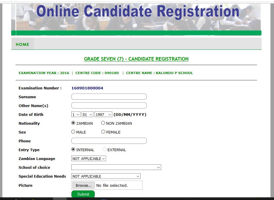 Figure 59: Grade 7 Candidate Registration After selecting the correct details, the candidate s examination number is