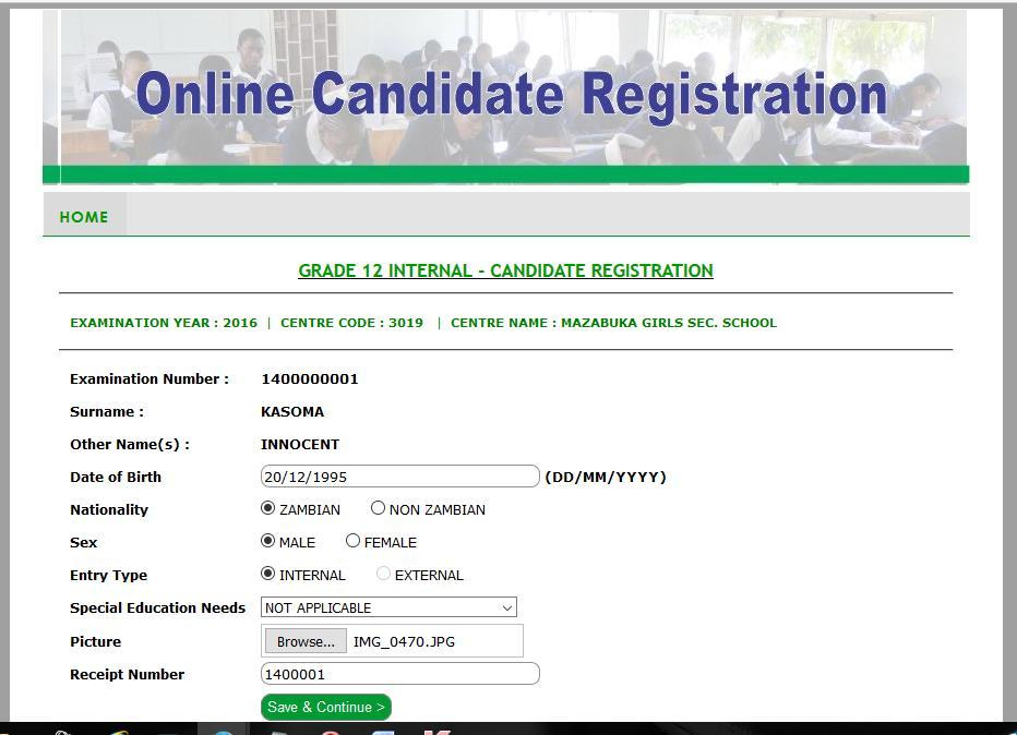Adding a Grade 12 Internal candidate Record To add a candidate record for G12 Internal candidate, the user has to enter a valid Grade 9 examination number and the personal details for the candidate