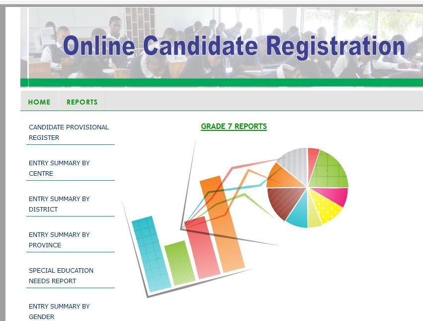 4.3.7 Generating a Report The web based candidate registration system has several reports that can be generated by the user.