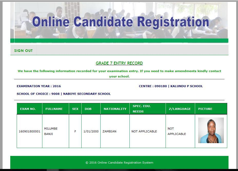 4.2.8 Viewing candidate details A candidate can view their details by entering their examination number.