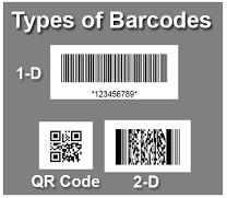 Figure 3 Types of Barcodes [66] There are different types of Barcode Scanners: Pen Type Reader: Pen-type readers consist of a light source and photodiode that are placed next to each other in the tip