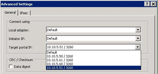 12. In the Connect To Target dialog, check Enable multi-path and click Advanced. 13. This time, select the next IP address of the iscsi LIFs from the Target Portal IP pull-down.
