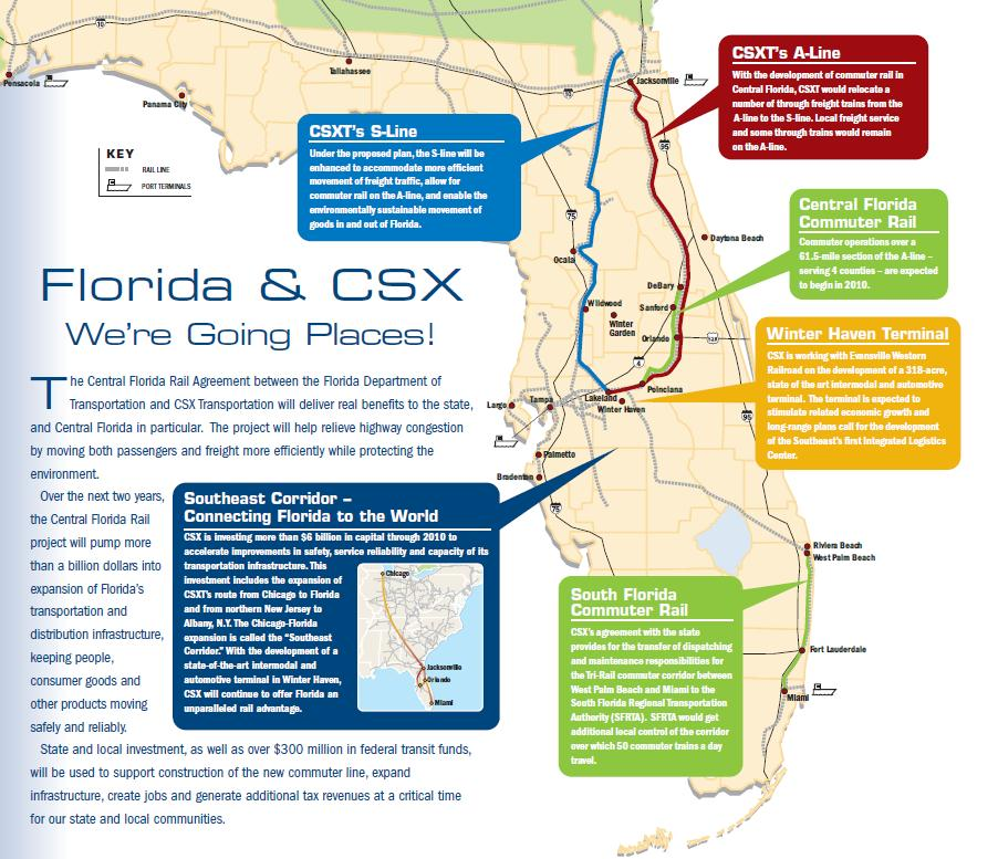Public private partnership re-aligns CSX in Florida State of Florida gets commuter rail in greater Orlando area