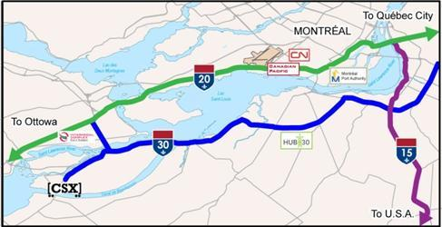 Infrastructure, commercial projects support presence Valleyfield Beauharnois 10 Miles Regional beltway expansion (Autoroute 30 opened Dec.