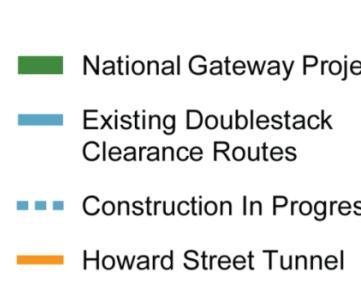 National Gateway overview Project overview: $842 million in investments 61 double stack clearance projects Construction of 6 intermodal terminals NW Ohio