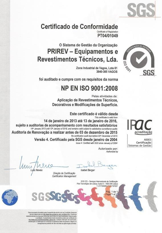 CERTIFICATION Quality Certificate ISO