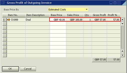 00 is equal to GBP 57.00. The Profit % field is computed based on the Calculate % Gross Profit option selected in the Document Settings window.