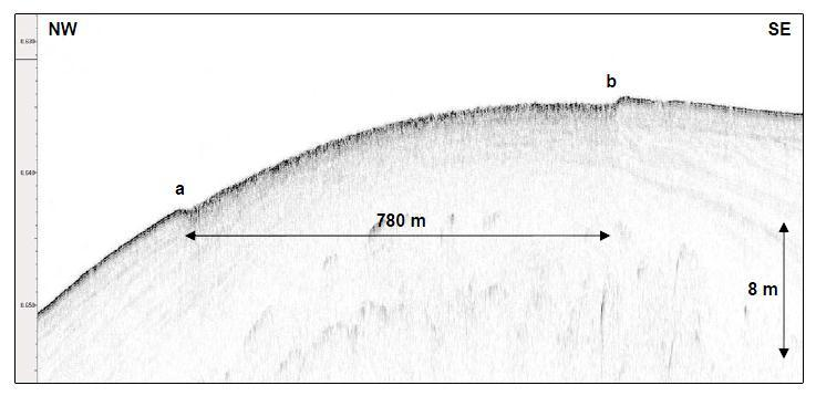 105 of 279 Figure 4-21 Line 009_1 profiler data, seabed scour The most extreme area of scour is located in the west of the area affecting an 11 km wide swathe of the upper slope in water depths