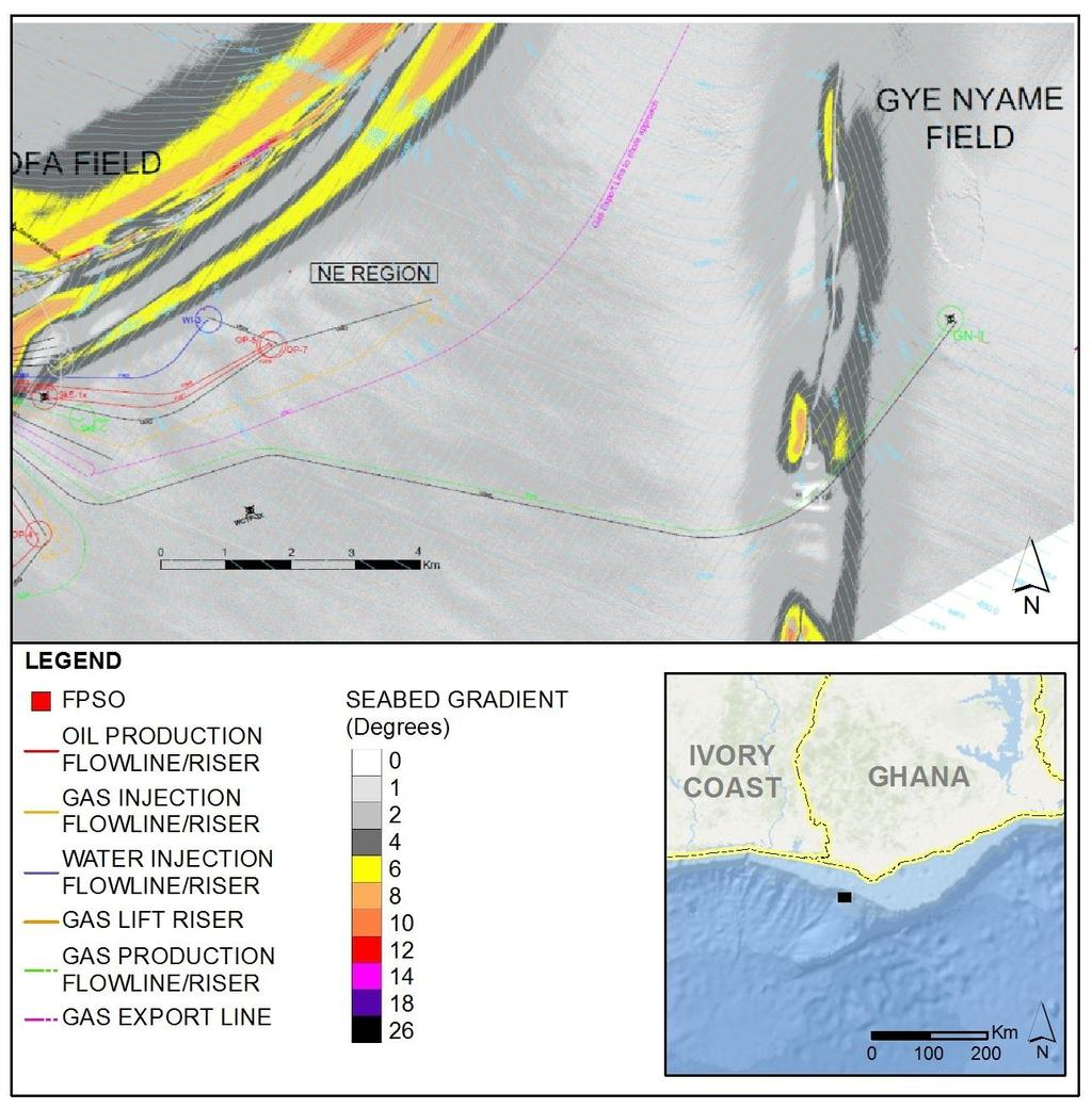 44 of 279 Figure 2-11 OCTP proposed subsea layout plotted on the slope Gye Nyame field For additional details on subsea production systems, flow assurance / production chemistry, or transport and