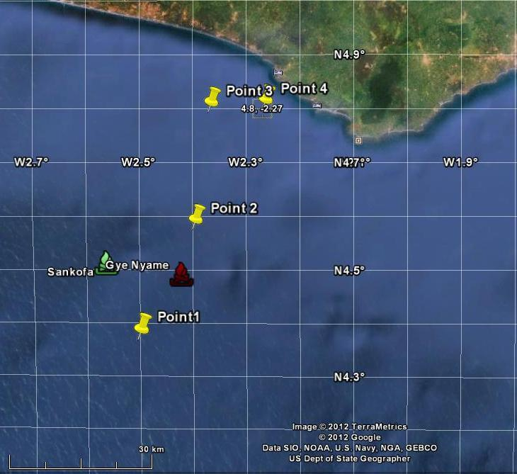 98 of 279 Point with coordinates Lat. 4.375 N and 2.5 W (point 1 1000 m depth) has been selected as representative of wave conditions at Sankofa and Gye Nyame fields (Figure 4-12).