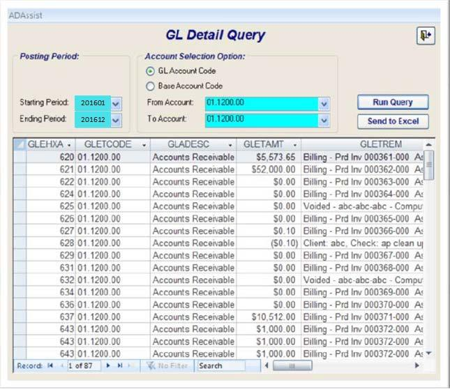 GL Entry Query The GL Entry Query found under Adassist Queries is a great tool for researching the transactions posted to a general ledger account.