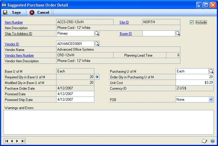 PART 2 PURCHASE ORDERS If you selected to view a suggested purchase order line item in the Suggested Purchase Order Detail window and returned to the Suggested Purchase Orders Preview window, the