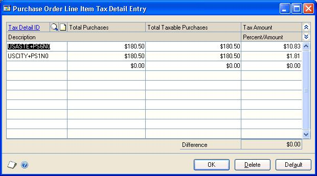 CHAPTER 11 TAXES FOR PURCHASE ORDERS To calculate and distribute detail taxes for purchase order items: 1. Open the Purchase Order Entry window. (Transactions >> Purchasing >> Purchase Order Entry) 2.