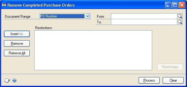CHAPTER 12 PURCHASE ORDER MAINTENANCE After you ve transferred the completed purchase orders to history, you can use the Remove Purchasing History window to delete purchase order history or print the