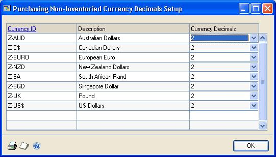 CHAPTER 1 MODULE SETUP Setting up currency decimal places for non-inventoried items Use the Purchasing Non-Inventoried Currency Decimals Setup window to define currency decimal places for