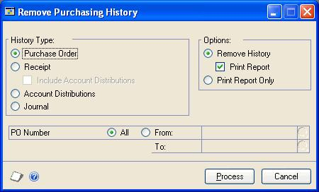 PART 5 UTILITIES If you haven t selected to maintain purchase order and receipt history in the Purchase Order Processing Setup window, purchase orders will be deleted when they re removed using the