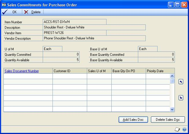 CHAPTER 7 PURCHASE ORDER ENTRY To commit purchase orders to sales documents: 1. Open the Purchase Order Entry window. (Transactions >> Purchasing >> Purchase Order Entry) 2.