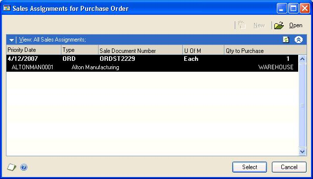Choose the Link Purchase Order button on the Quantity Ordered field to open the Sales Commitments for Purchase Order window.