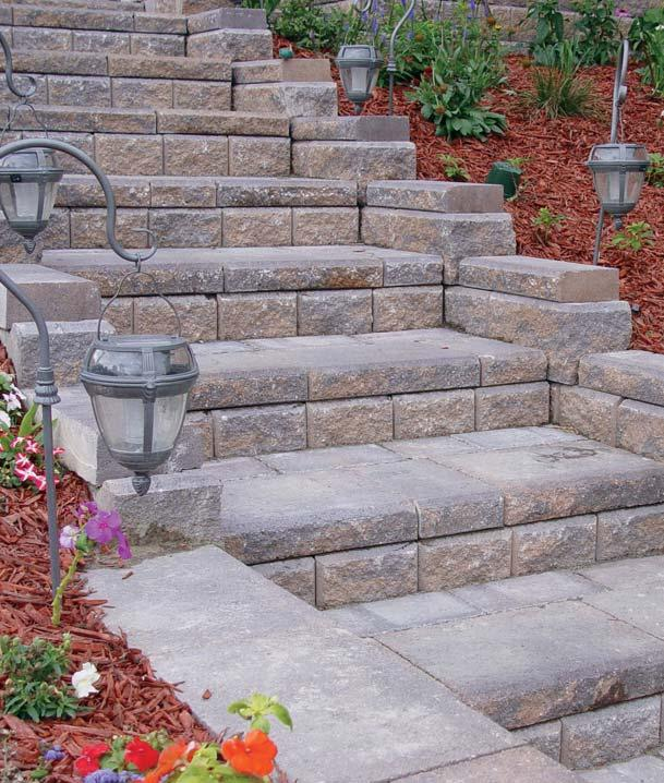 On gentle slopes, add pavers or other materials to increase the depth of the tread and length of the run.