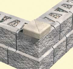 Starting at the lowest point of the trench, begin placing the Place block C D B first course of block on the base
