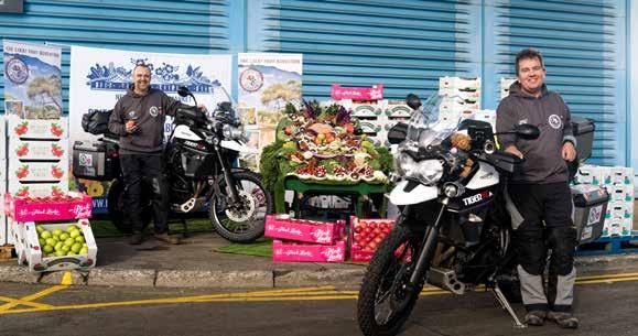 Max (front) and Gareth (rear) left this market in London on 8 November 2016 and will spend about 4 months on these motorbikes as part of the Great Fruit Adventure.