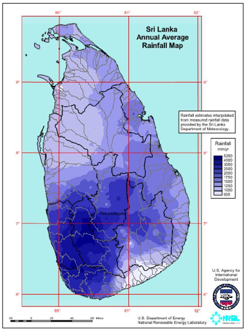 Small Hydro and Biomass Potential Average Annual Rainfall Spatial Distribution of Land identified for Energy Plantations The total estimated small hydro potential is Sri Lanka Renewable Energy