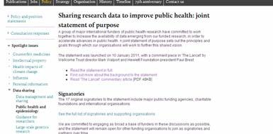 Sharing research data: 2011
