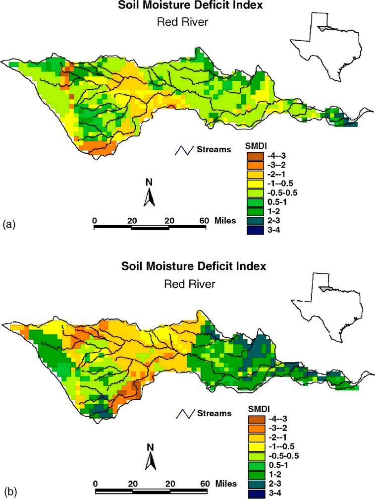 B. Narasimhan, R. Srinivasan / Agricultural and Forest Meteorology 133 (2005) 69 88 79 Fig. 6. Spatial distribution of Soil Moisture Deficit Index (SMDI).