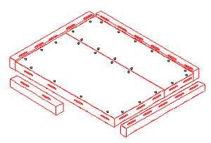 Start by aligning the first floor beam with the cam locks on one side of the floor panels.