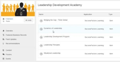 Integrating SAP Jam and SuccessFactors Learning Automatic group invitations Related SAP Jam content visible within search Integration Points Learning Catalogue Users can search the LMS catalog and