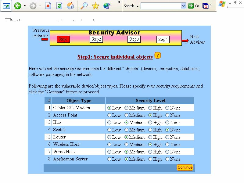 2.7. Security Advisor The Security Advisor analyzes the security features of the models developed so far and suggests a security plan that can be used to secure networks, databases, applications,