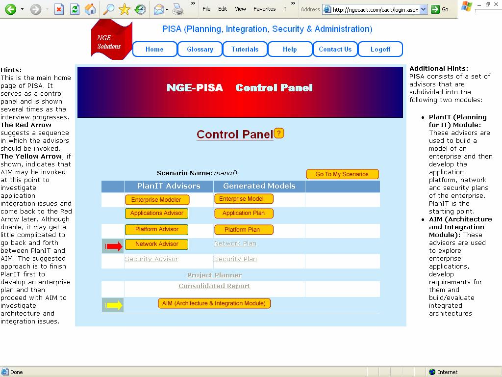 2.2. The Control Panel The Control Panel, shown below, is the main home page of CACIT. It controls the flow of a user interview and is shown several times as an interview progresses.