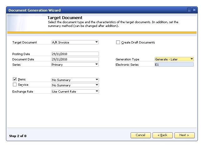 How to Implement and Use Electronic Documents with SAP Business One Generation Type Displays the default value for generating electronic documents using the Document Generation Wizard, which is