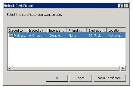 The certificate selection window appears with a list of available certificates. 3.