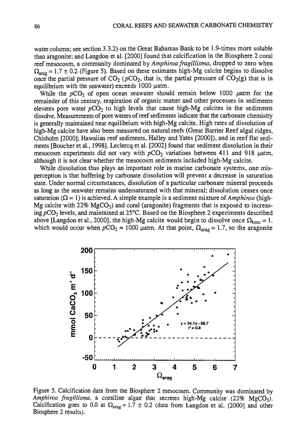 86 CORAL REEFS AND SEAWATER CARBONATE CHEMISTRY water column; see section 3.3.2) on the Great Bahamas Bank to be 1.9-times more soluble than aragonite; and Langdon et al.