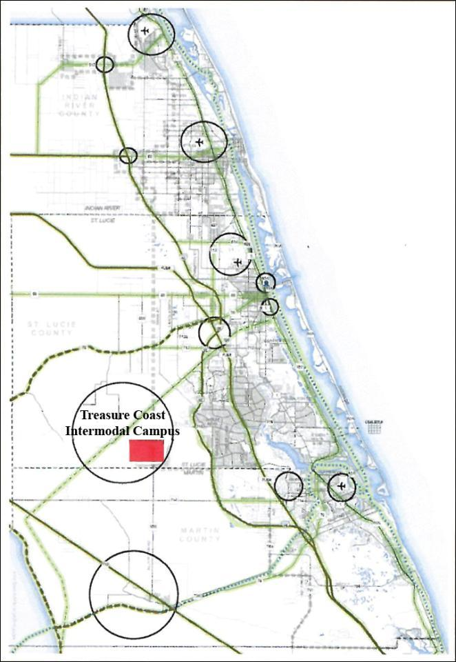 Florida Inland Port 2005 planned regional freight corridors Long before FIP was conceptualized, the joint Martin/St.
