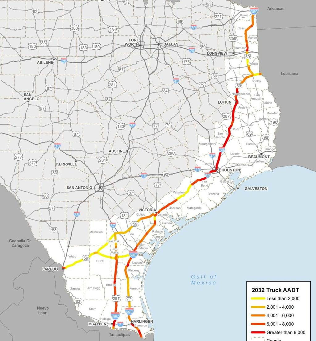 Projected 2032 Average Daily Truck Counts Does Not Reflect Traffic That Will Move From Other Routes to I-69 After Expected Corridor Upgrades 6,000 + 8,000 + 8,000 + 4,000 + TxDOT projects that