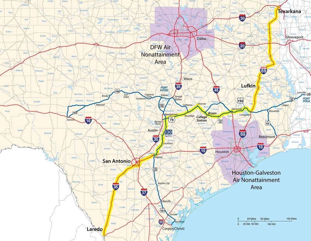 Would Provide a Route Across Texas Outside Federal Air Quality Non-Attainment Areas This Route Also Has the Potential to