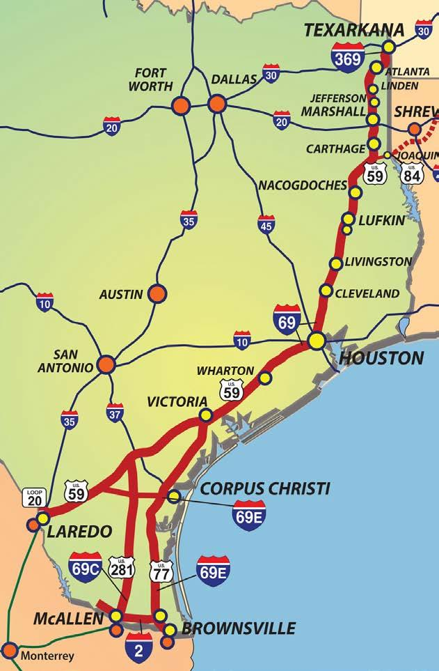 The I-69 System in Texas 1,076 system miles including I-69E, I-69C, I-69W, I-369 and I-2 One-third of Texas population lives in the 35 counties on the I-69 Routes Already a very important freight